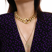 Gold Double Layering Chain Coin Pendant Necklace