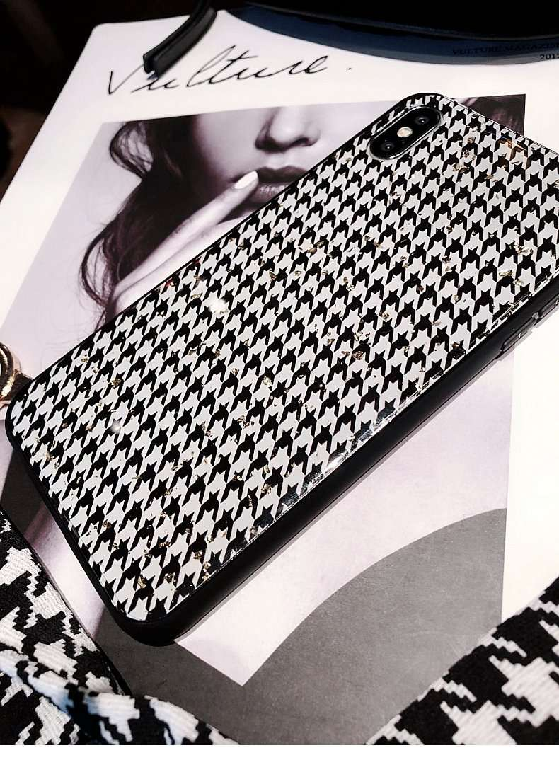 Gold Foil Grid Phone Case for Apple iPhone with Strap