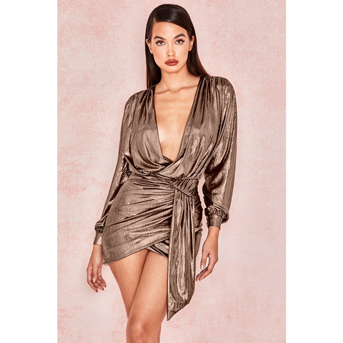 Shiny Metallic Deep V-Neck Ruched Wrap Detail Bodycon Dress