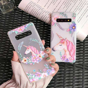 Lovable Horse & Flowers Painted Samsung Case