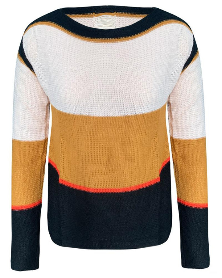Colorblock Chunky Knit Hollow Out Back Sweater gallery 3