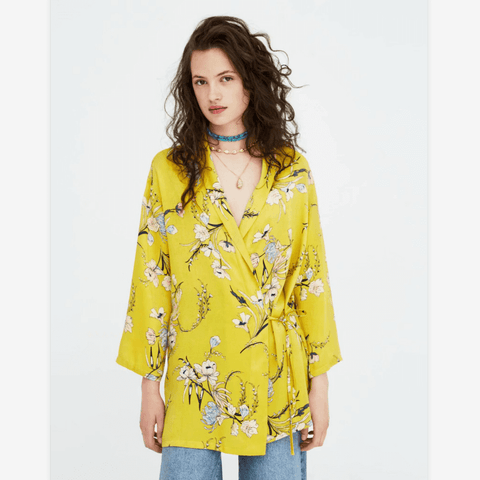 Yellow Oversize Floral Print Tied Front Blazer
