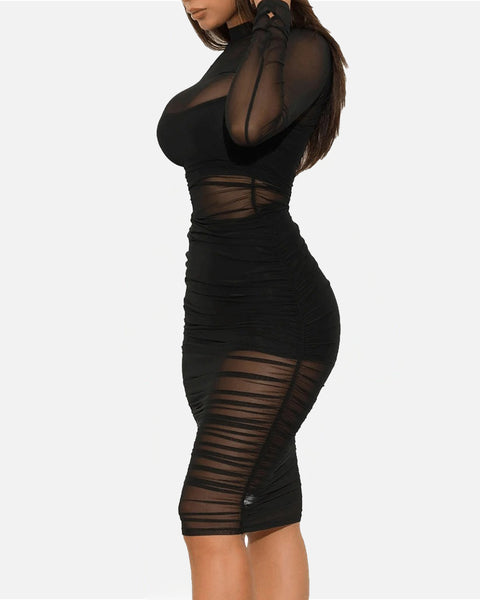 Sexy Mesh Sheer Ruched Lined Camisole & Shorts Bodycon Dress gallery 7