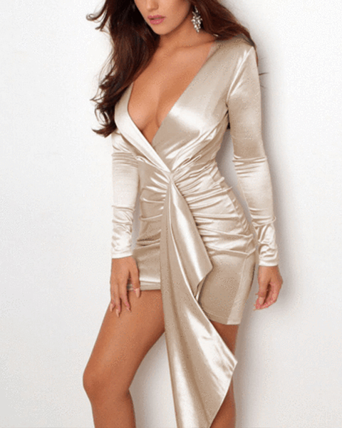 Metallic Satin Plunge Wrap Ruched Bodycon Dress