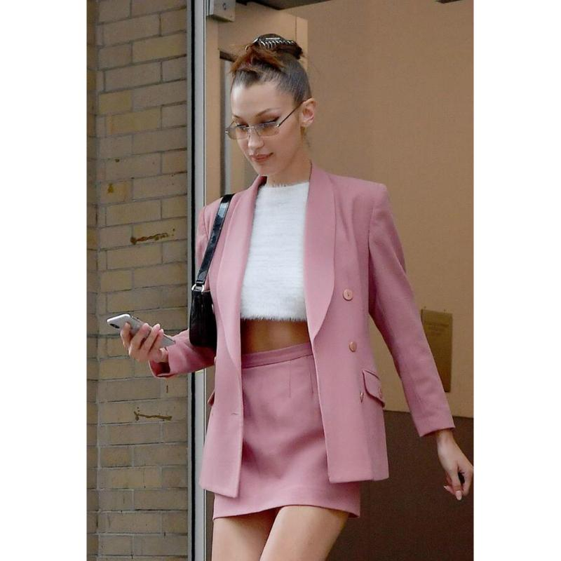Dusty Pink Double Breasted Oversized Blazer