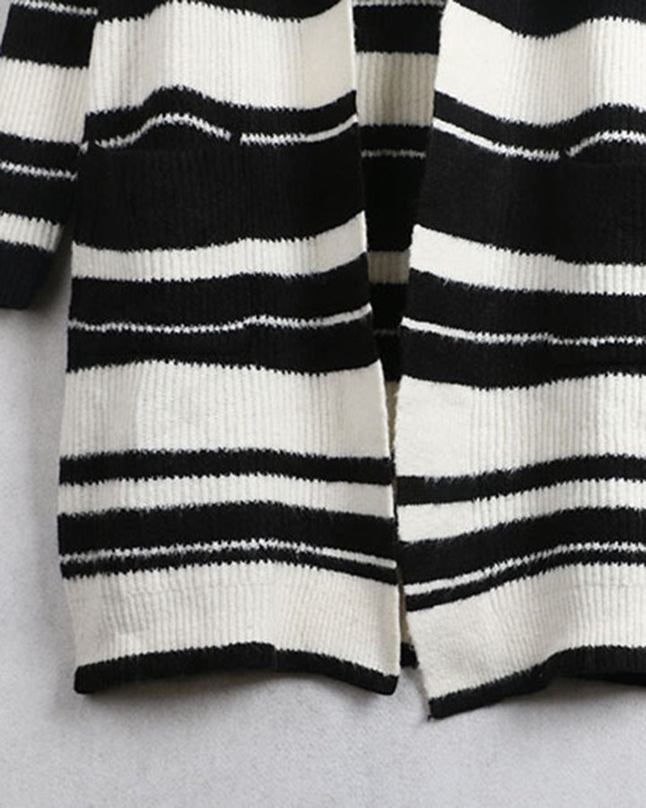 Striped Rib-Knit Dual Pocket Open Front Cardigan gallery 5
