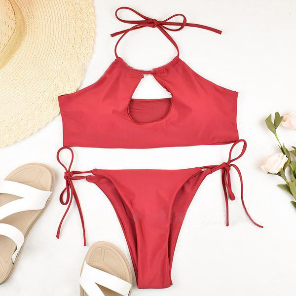 Hollow Out Front Tied Top With High Leg Bikini Set Swimsuit