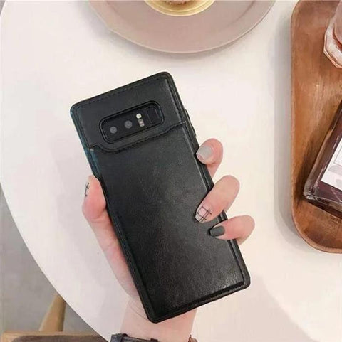 Concise Card Pluggable Leather Phone Case for Samsung gallery 4