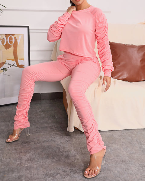 Ruched Long Sleeve Knot Front Top & Pant Set