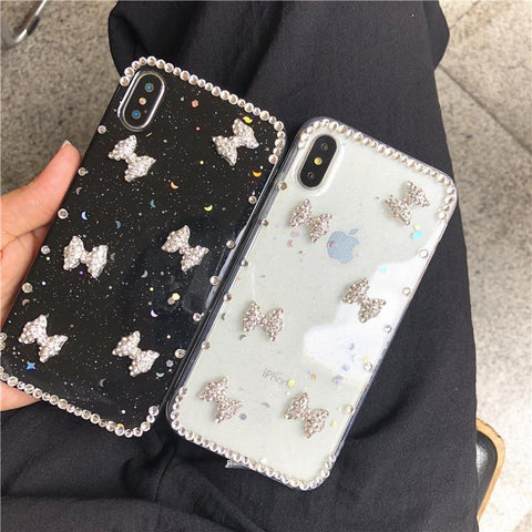 Little Bowknot Rhinestone Clear Transparent Phone Case for Samsung gallery 14