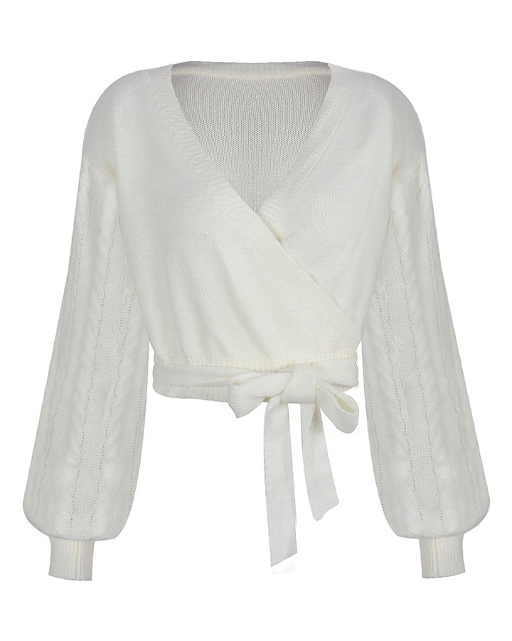 Solid Cable Knit Surplice Self-Tie Sweater gallery 4