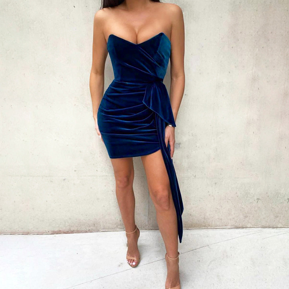 Velvet Bardot Invisible Shoulder Strap Ruched Bodycon Dress