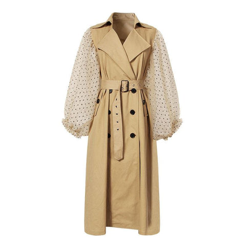 Clear Gauze Sleeves Detail Trench Blazer