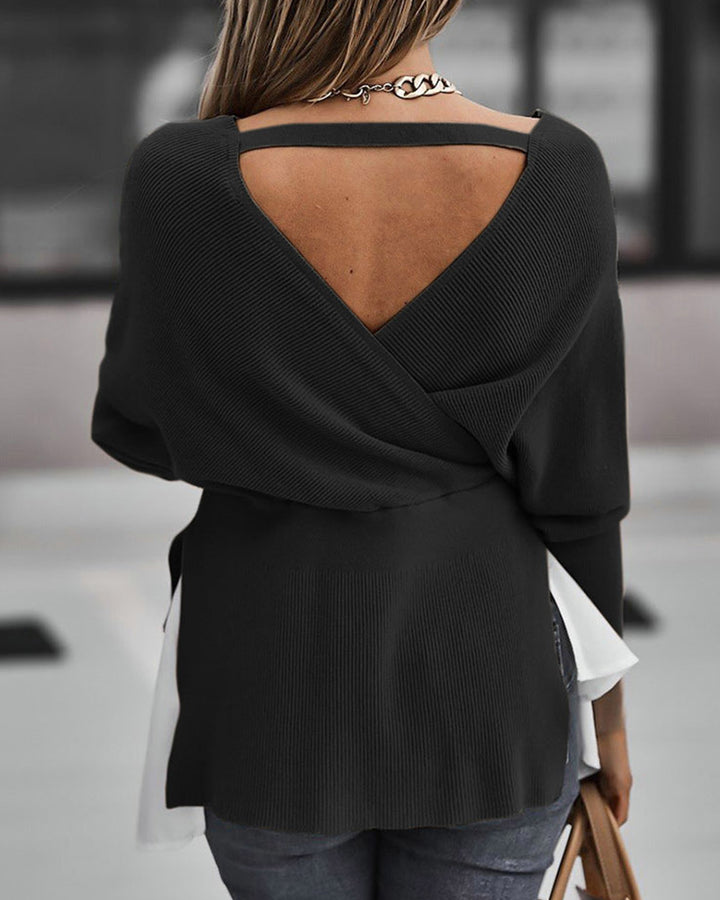 Two Tone Tiered Layer Ribbed Split Hem Asymmetrical Sweater gallery 6