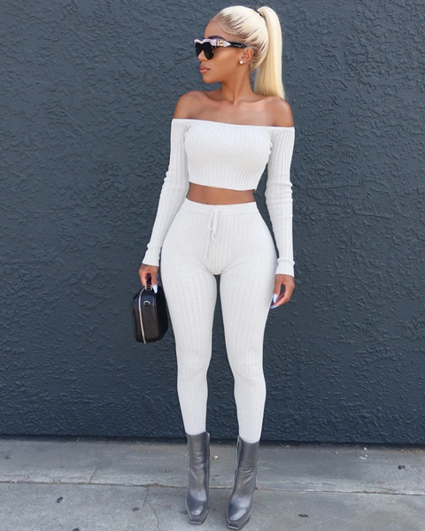 Off Shoulder Ribbed Cropped Top & Pant Set
