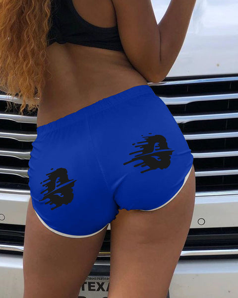 Graphic Print Contrast Binding Sports Shorts gallery 3