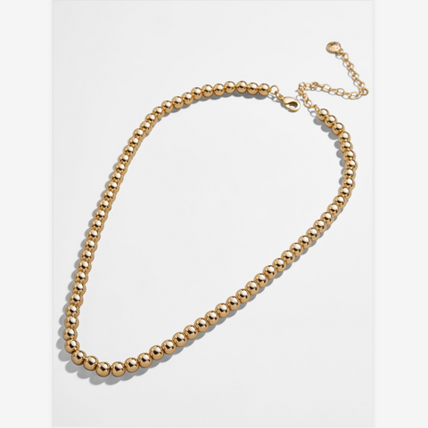 Large Gold Bead Strand Necklace