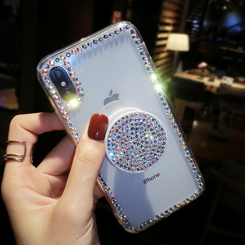 Luxury Small Rhinestone Trim Transparent Phone Case for Samsung with Phone Holder gallery 4