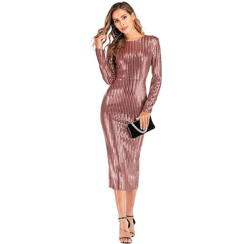 Glitter Sequins Detail Pinstripe Open Back Dress