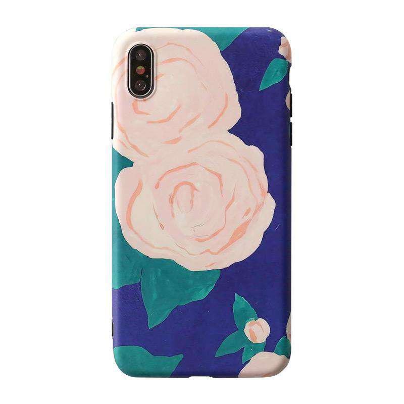 Large Flower Color Patch Print Phone Case For All iPhone