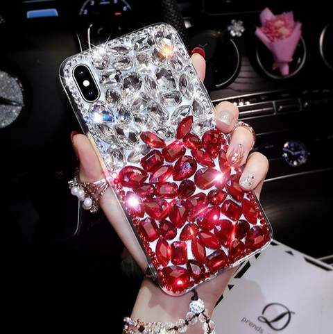 Clear Glittering Rhinestone Phone Case for Samsung with Wrist Strap gallery 2