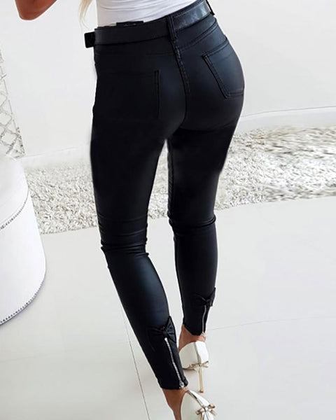 Solid Bow & Zipper Back Detail PU Leather Pants