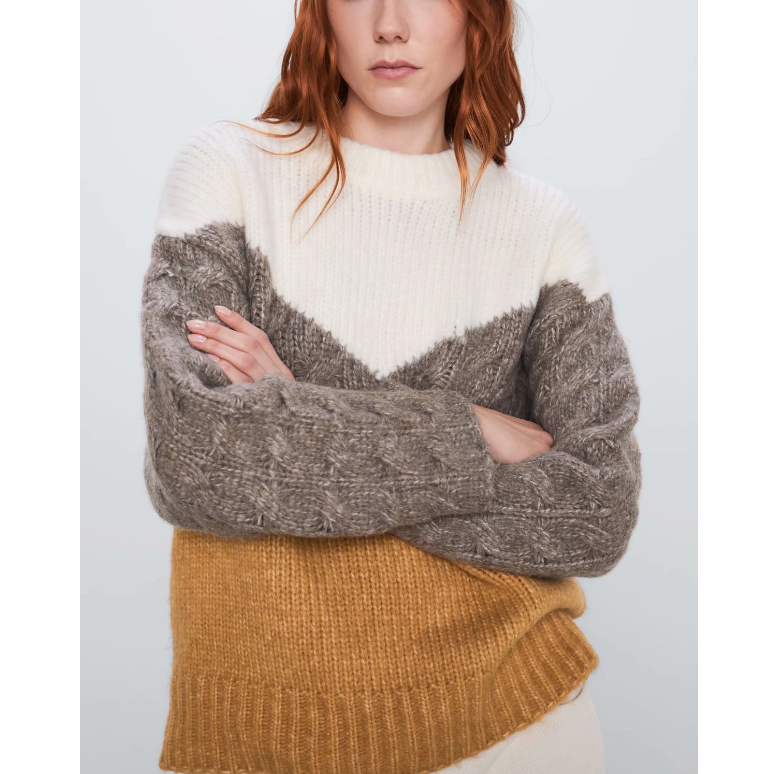 Round Neck Color Block Rib Knit Sweater