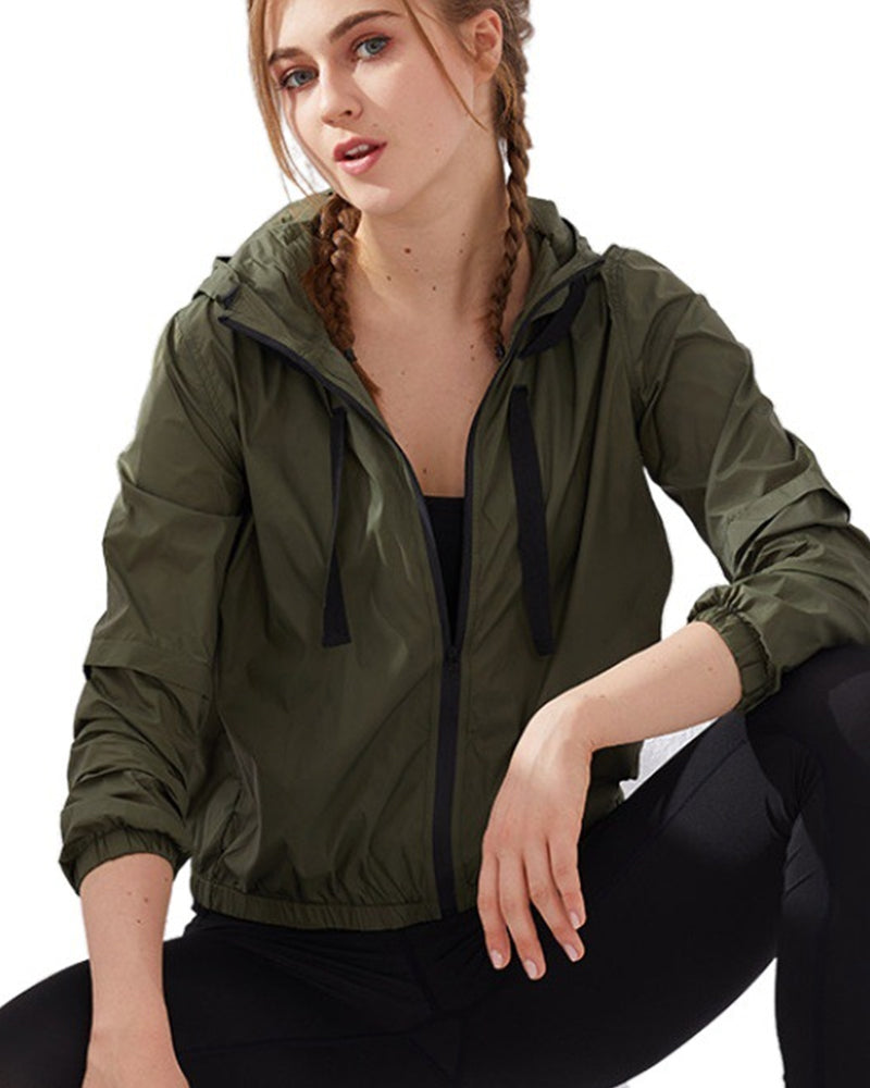 Zip Up Drawstring Hooded Sports Jacket