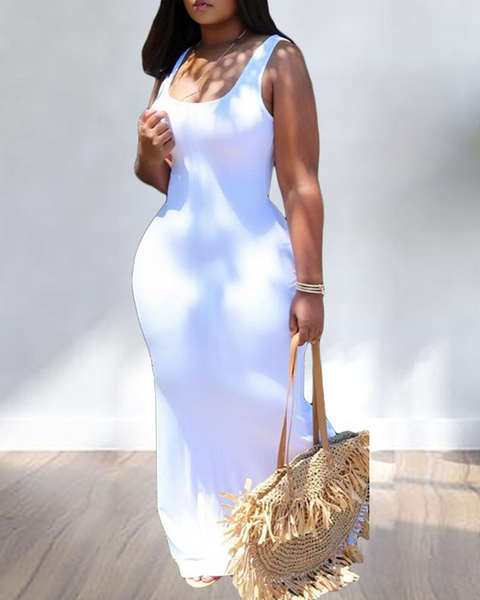Solid Color Sleeveless Maxi Dress gallery 10