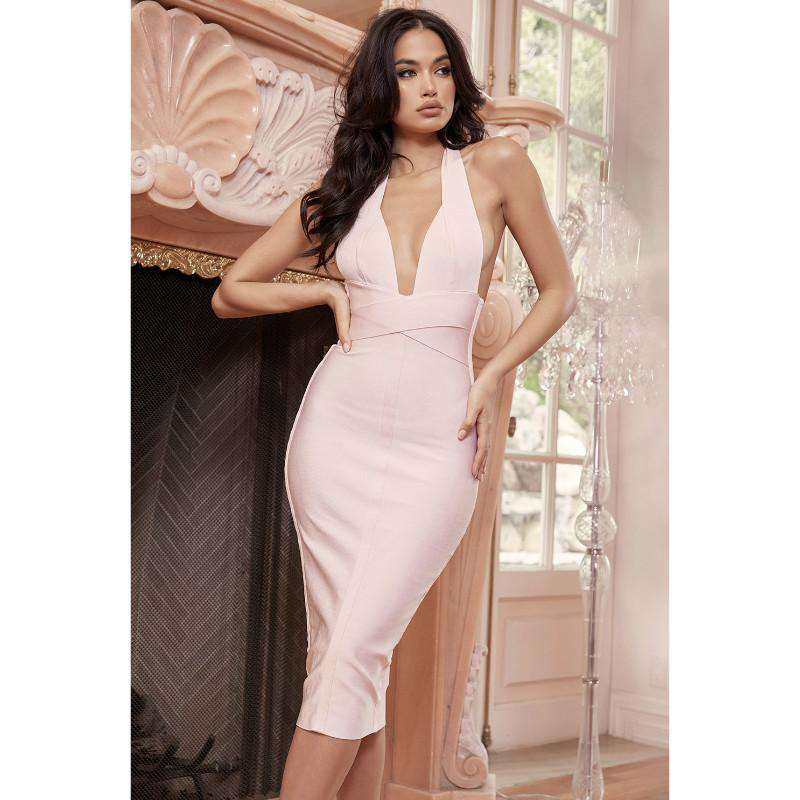 Pink Halter Neck Bandage Dress