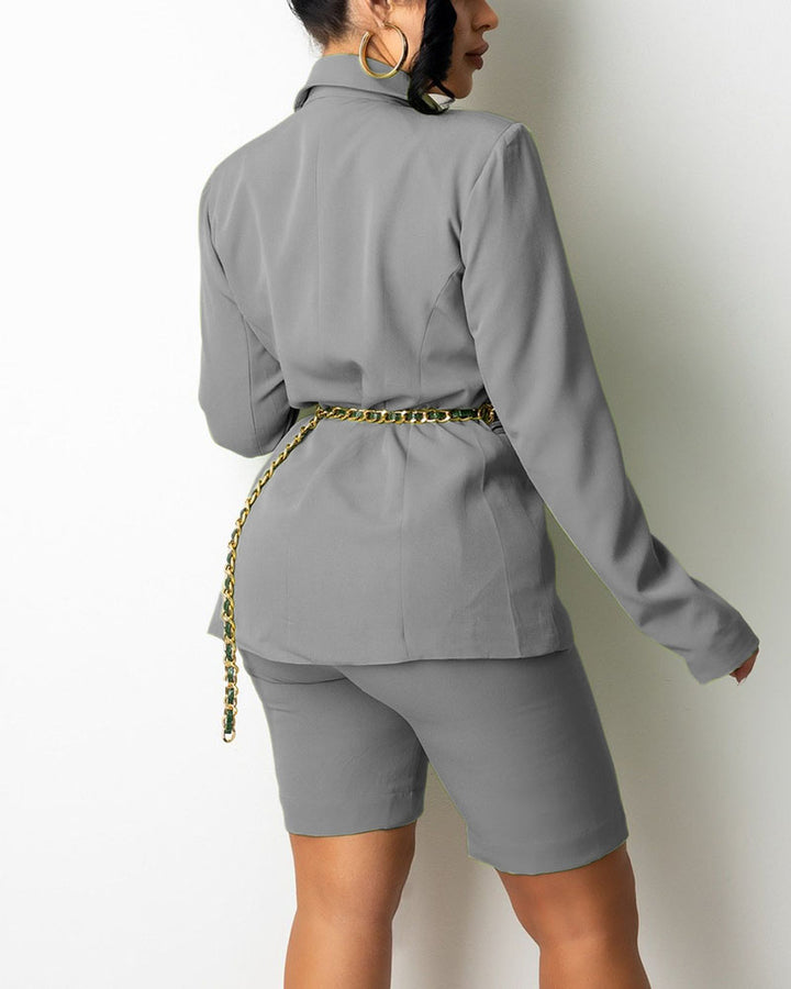 Solid Button Front Blazer & Shorts Set Without Belt gallery 7