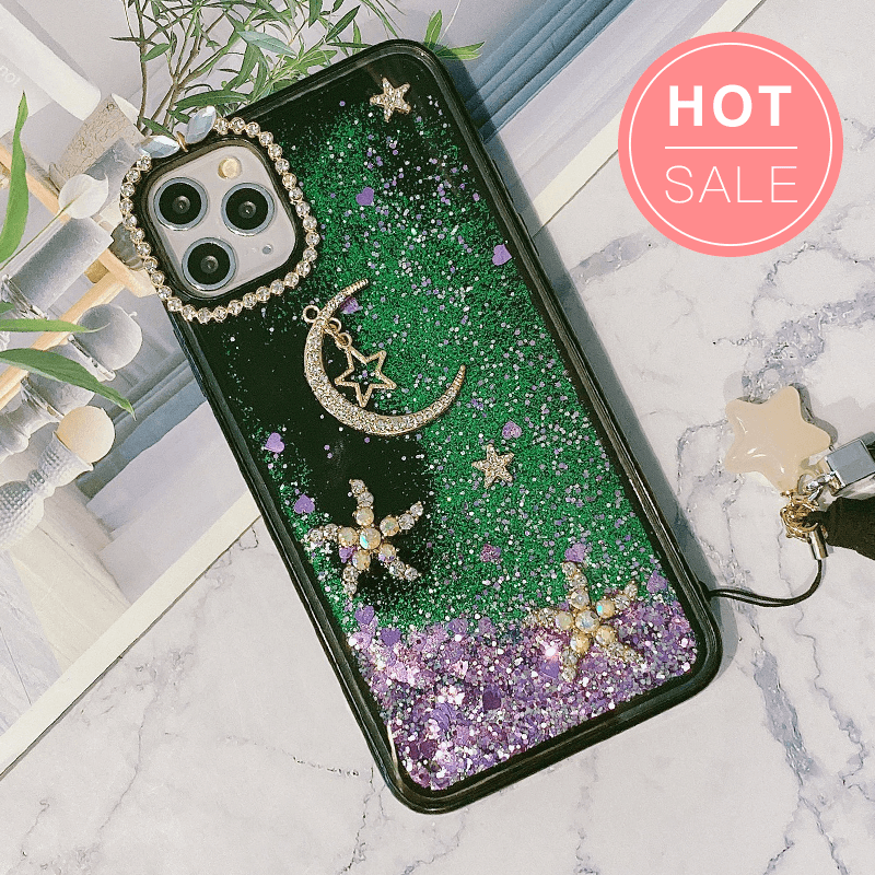 Flowing Glitter Rhinestone Moon Star iPhone Case with Hand Strap