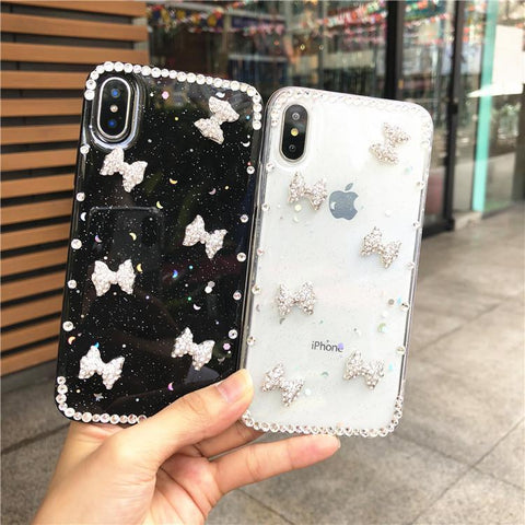 Little Bowknot Rhinestone Clear Transparent Phone Case for Samsung gallery 4