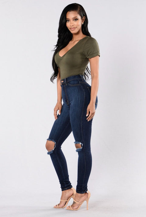 High Waist Knee Ripped Button Up Jeans gallery 2