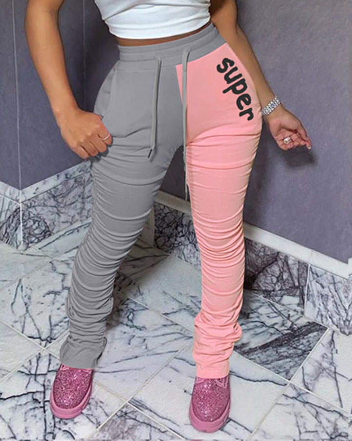 Two-Tone Letter Print Drawstring Ruched Flare Pants  gallery 3