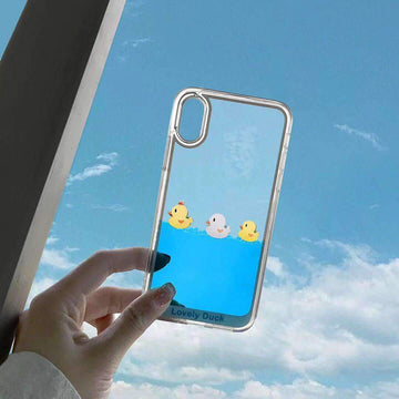 Cute Duck Transparent Liquid Phone Case For All iPhone