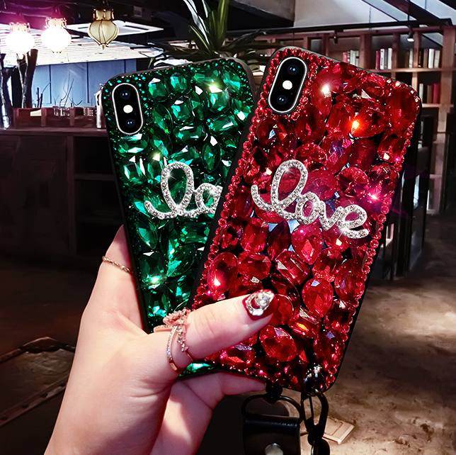 Letter Rhinestone Phone Case for Samsung with Wrist Strap