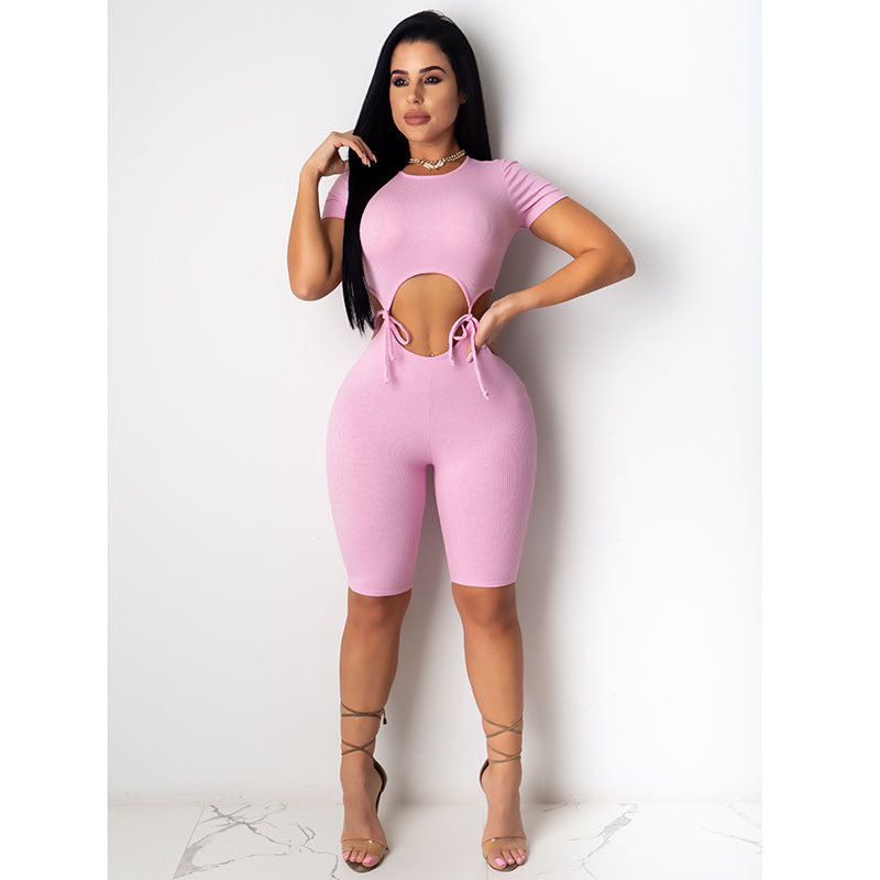 Ribbed Cut Out Tie Waist Round Neck Romper