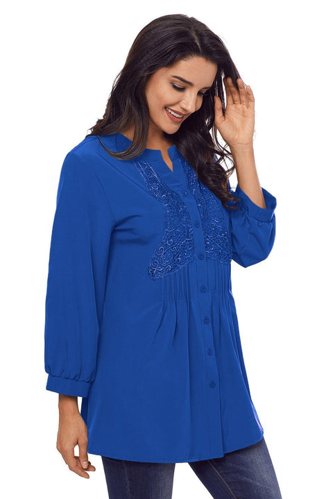Blue Lace and Pleated Detail Button up Blouse gallery 4