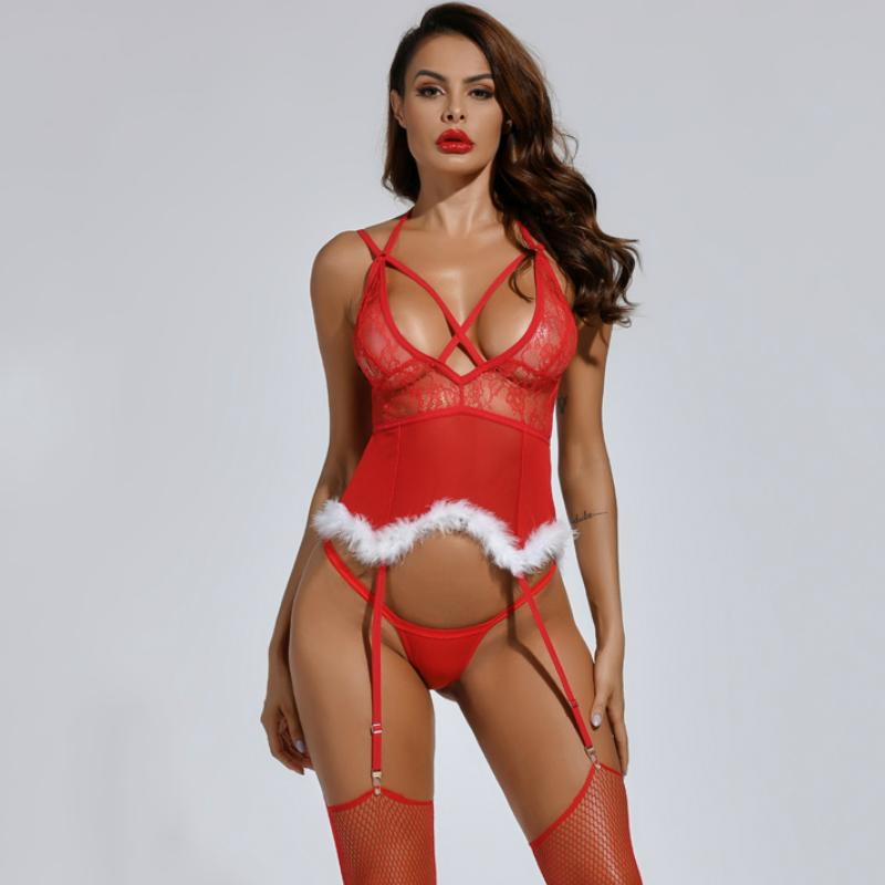 Criss Cross Front Cut Out Back Christmas Lingerie