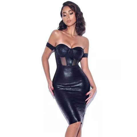 Sweetheart Mesh Spliced Off Shoulder Bodycon Midi Dress