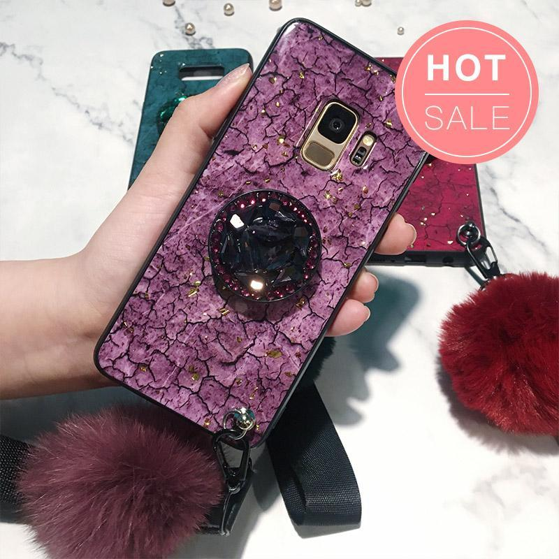 Samsung Fancy Marble Fur Ball Phone Case with Phone Holder and Pom-pom