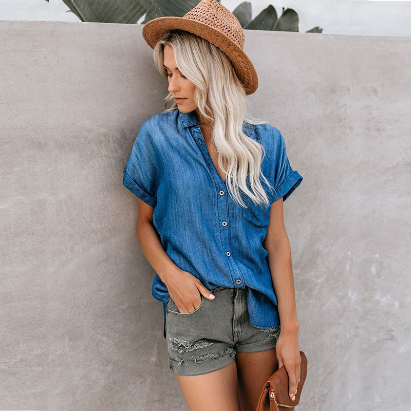 Denim Popper Front Pocket Detail Shirt