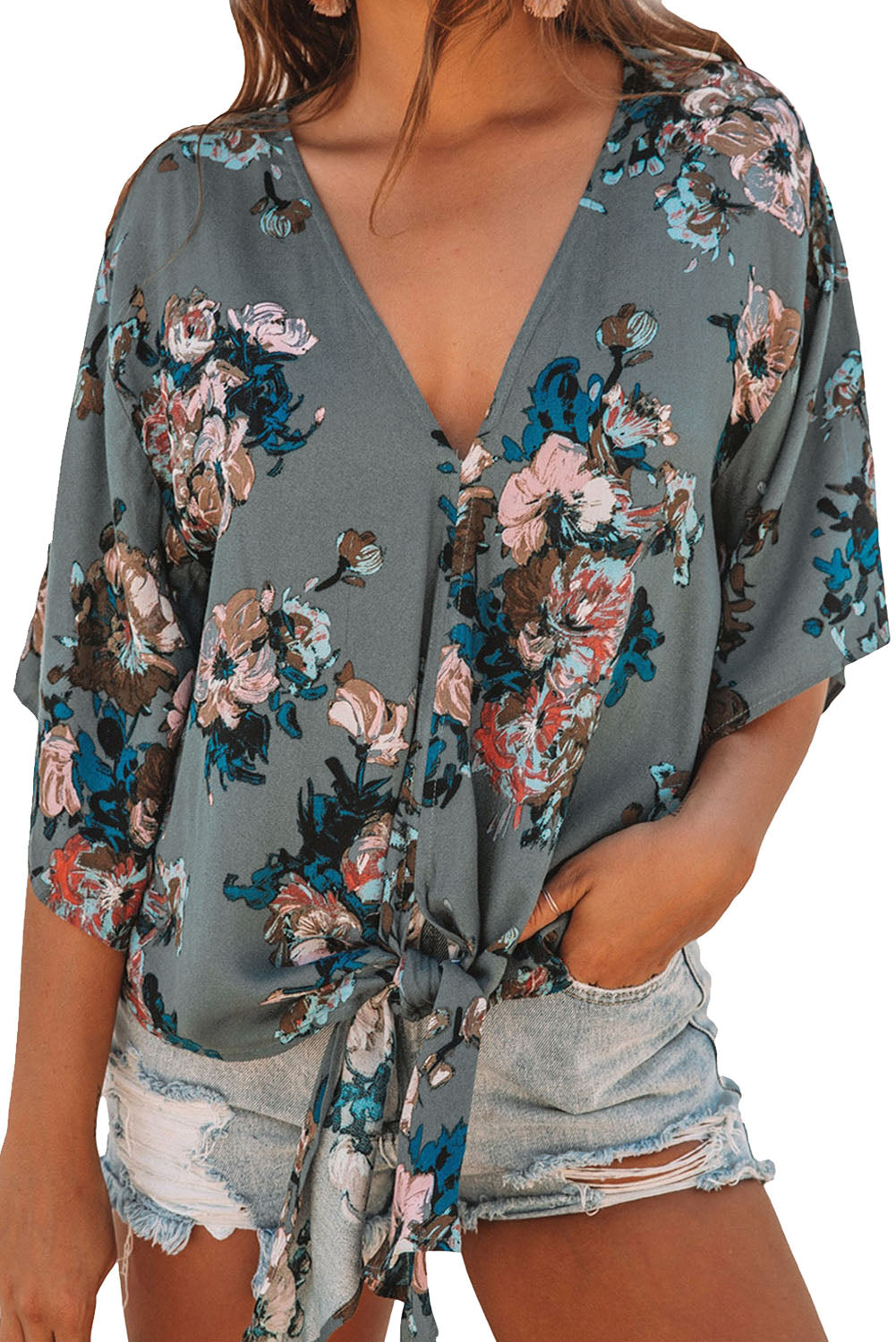 Green Floral Printed Deep V Neck Tie Front Blouse