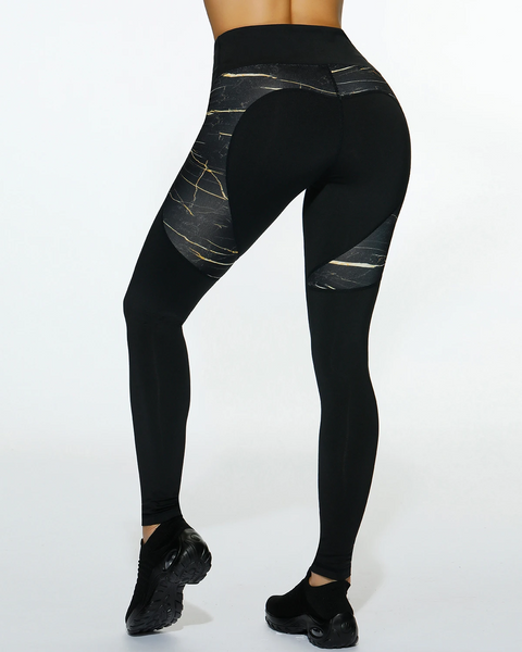 Black Heart Print Fitness Sports Leggings