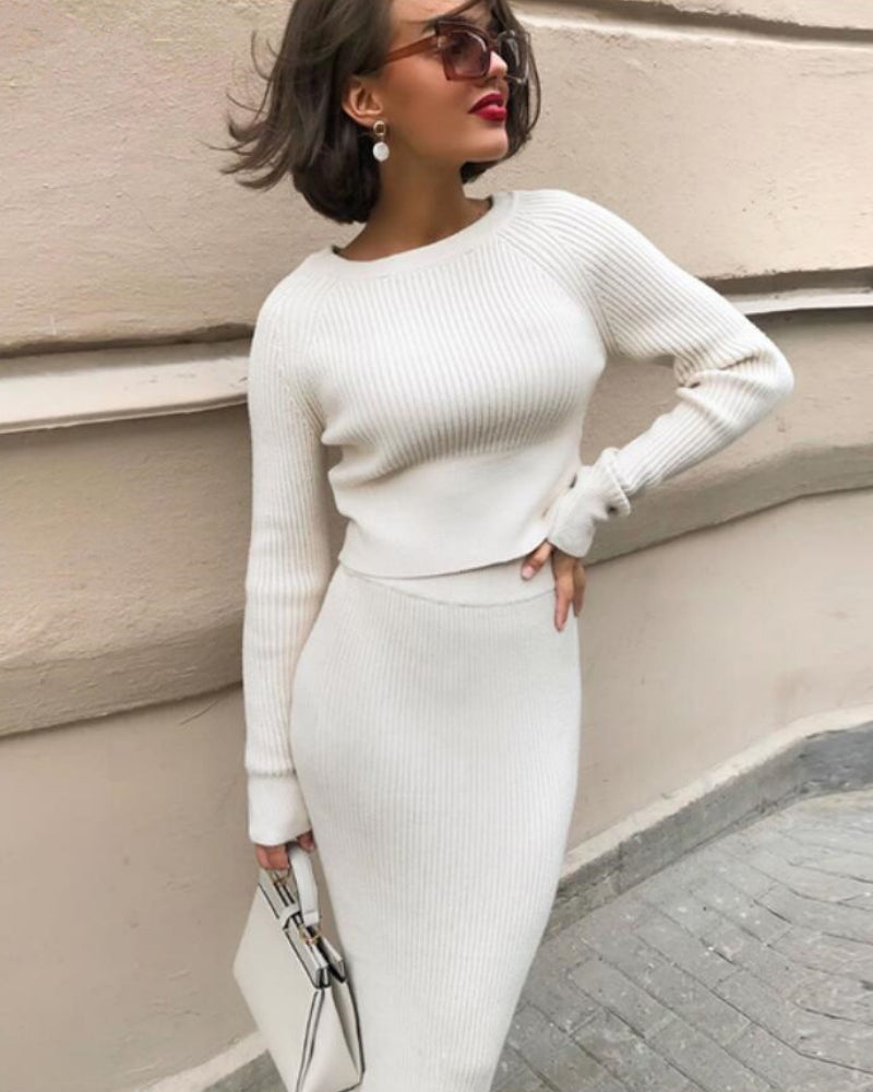 Raglan Sleeve Ribbed Knit Sweater & Skirt Set