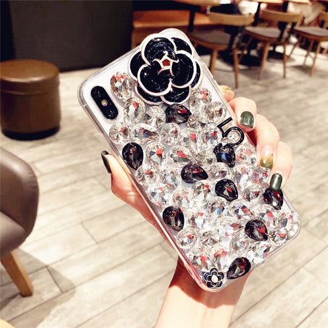Camellia Full Rhinestone Cover Phone Case for Samsung gallery 3