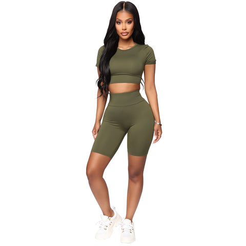 Round Neck Lace-Up Back High Waist Cropped Top & Short Set gallery 4