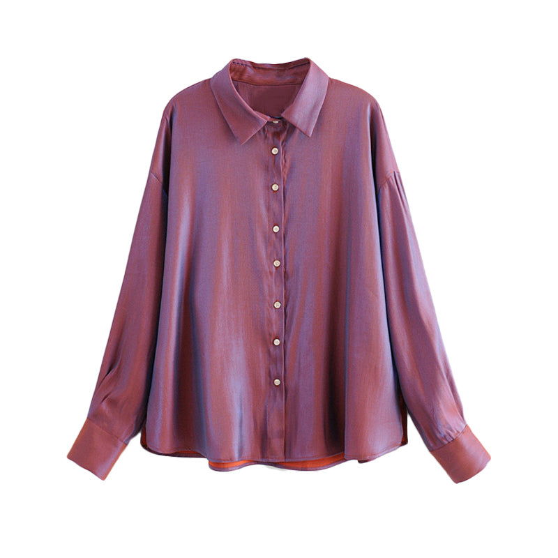 Glitter Button Front Loose Fitting Chic Blouse