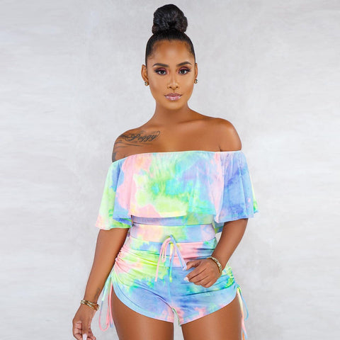 Tie Dye Off Shoulder Frill Detail Ruched Side Romper